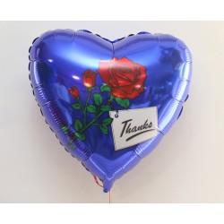 Фольгированный шарик -сердце с розой.